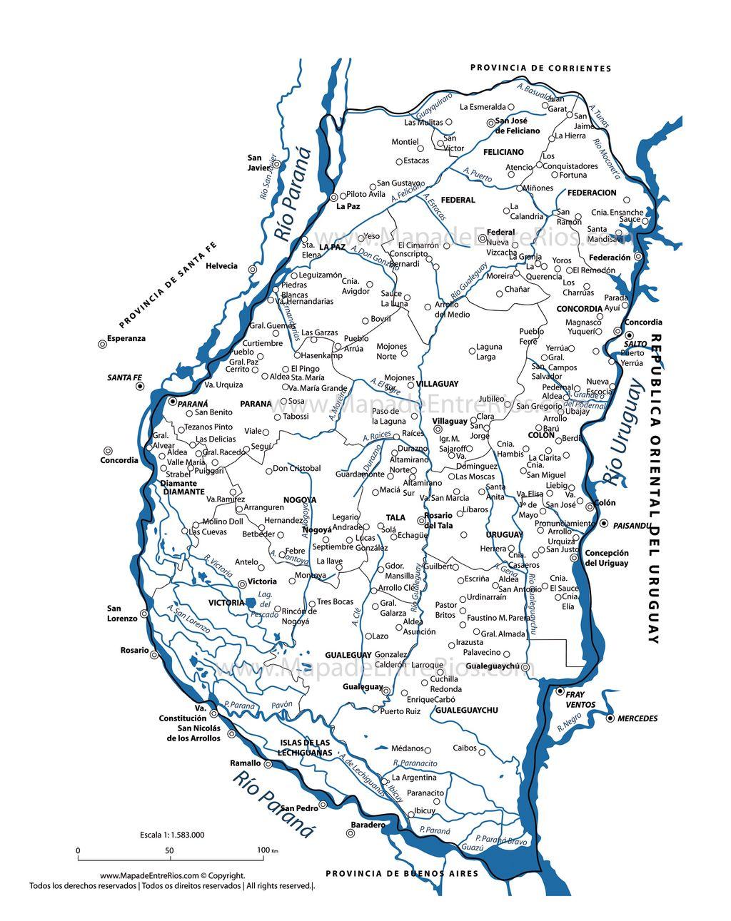 Mapa Hidrogr?fico de Entre Rios